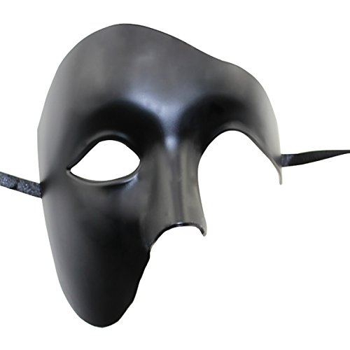 asquerade Maske Phantom der Oper Half Face Maske (Schwarz) (Herren Masquerade Masken)