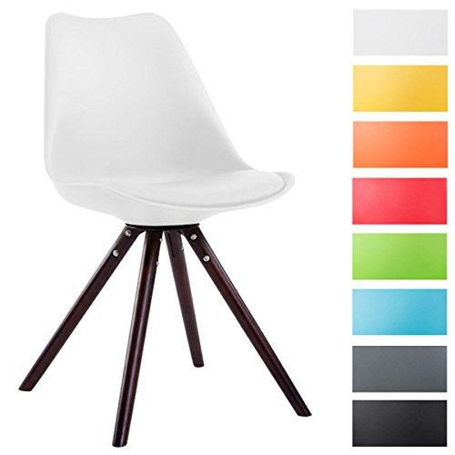 CLP Sedia dal design vintage TOULOUSE con gambe rotonde in legno color cappuccino, schienale in plastica, seduta in similpelle e imbottita. bianco