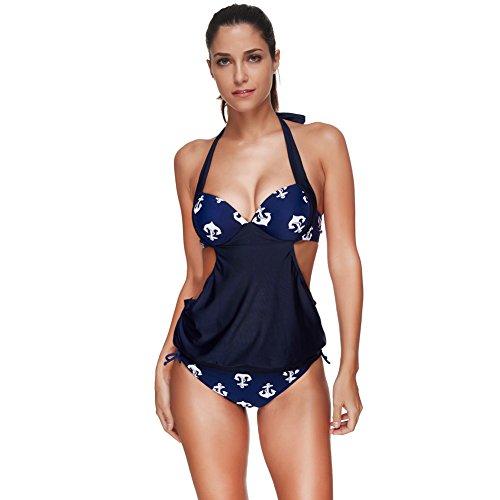 4d83762627d9f FeelinGirl Women's Stripes Lined Push Up Tankini Top Bikini Set Swimwear  (M, Cobalt Blue