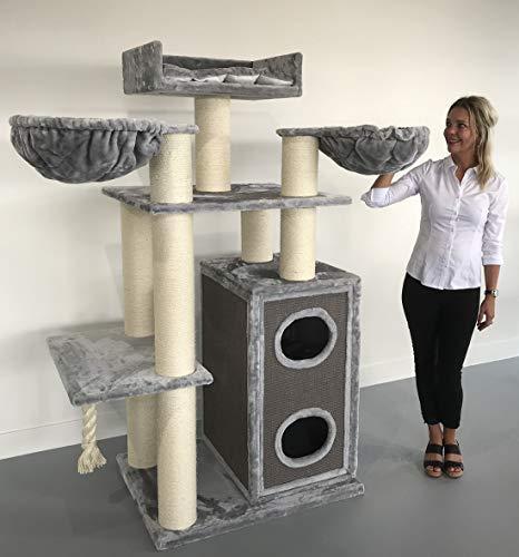 Rascador de gato Cat Paradise gris claro de Top Marca RHRQuality es un paraíso para gatos, que es muy grande y fuerte con espesor de 15cm sisal troncos y más de 80kg Peso total. nuevo diseño mejorado 2018de RHRQuality: Nuevo Model 2018ahora con e...