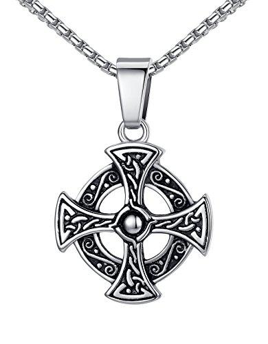 Aoiy collana con pendente, acciaio inossidabile, unisex, croce celtica, irlandese nodo, catena di 53cm, aap153