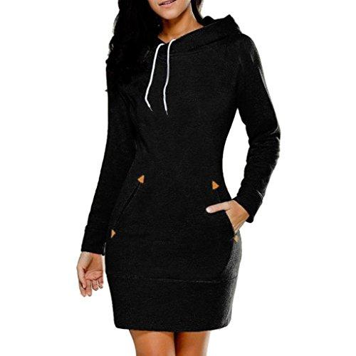 Longra Damen Mode Bodycon Kapuzenpullover Hoodie Kleid mit Tasche Frauen Casual Langarm Pullover Jumper Pulli Sweatshirt Kleid Shirtkleid Tunika Blusekleid Langarmshirt (5XL, Black)