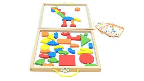 Unbekannt Magnet-Formenspiel / 42 magnetische, geometrische Formen + 24 Vorlagenkarten / 28,5 x 28,5 x 3,8 cm / 3+ 24 Formen