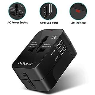 Adoric Universal Reiseadapter - Stromadapter Stecker für Europa UK Australien USA China - Universeller Weltreise Reisestecker - Schwarz