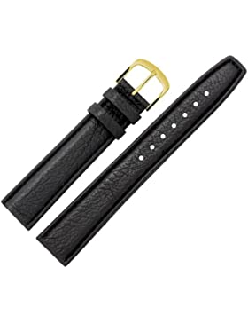 Uhrenarmband 20 mm Leder schwarz Narbung, mit Naht - Ersatzarmband aus genarbtem Rindsleder - Rindlederband mit...
