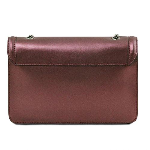 Tuscany Leather Iride - Clutch aus Metallic Ruga Leder mit Schulterkette - TL141641/112 (Dunkelblau) Bordeaux
