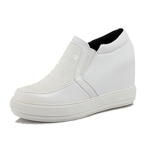 VogueZone009 Femme Rond à Talon Haut Matière Souple Couleur Unie Tire Chaussures Légeres Blanc