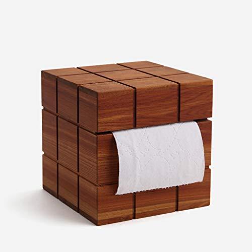 JSFQ Haushalt Tissue Box Volkskunst kreative Cube Tissue Box Startseite Massivholz Tablett Nacht Papierhandtuch Aufbewahrungsbox -