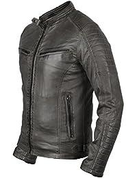Chaqueta de piel sintética vintage en gris, Moto Chaqueta, Slim Fit,