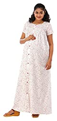 Ziva Womens Maternity Nightdress (ZMN 1623--M, White, Medium)