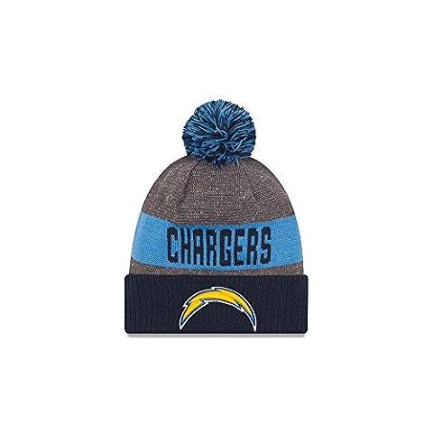 New Era Nfl Sideline Bobble Knit Sadcha Otc - Casquette ligne San Diego Chargers pour Homme, couleur Bleu, taille OSFA