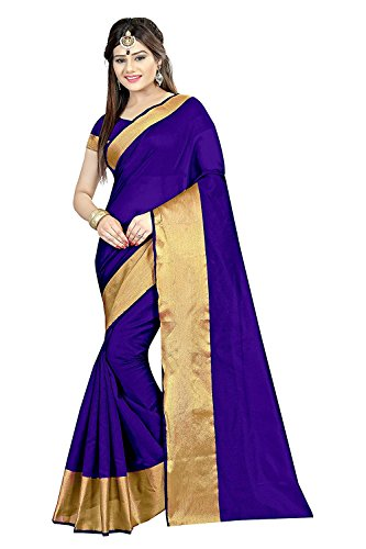 Sarees (Women's Clothing Saree For Women Latest Design Wear Sarees New Collection in Blue and White Coloured Velvet and Brasso Material Latest Saree With Designer Blouse Free Size Beautiful Saree For Women Party Wear Offer Designer Sarees With Blouse Piece)  available at amazon for Rs.199
