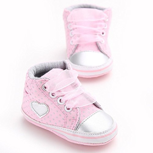 Clode®Baby Girl Chaussure de toile Coeur Chaussures en forme de Sneaker anti-dérapant souple Sole Toddler (0 ~ 6 mois, blanc) Rose