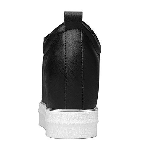 Damen Unsichtbar Aufzug Plateau mit Klettverschluss Flache Gummi Sohle Low-Top Schuhe Schwarz