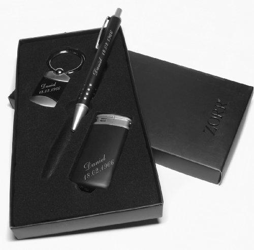 Ein hochwertiges 3-tlg. Geschenkset in Schwarz Kugelschreiber, Feuerzeug, Schlüsselanhänger mit Gravur nach Wunsch