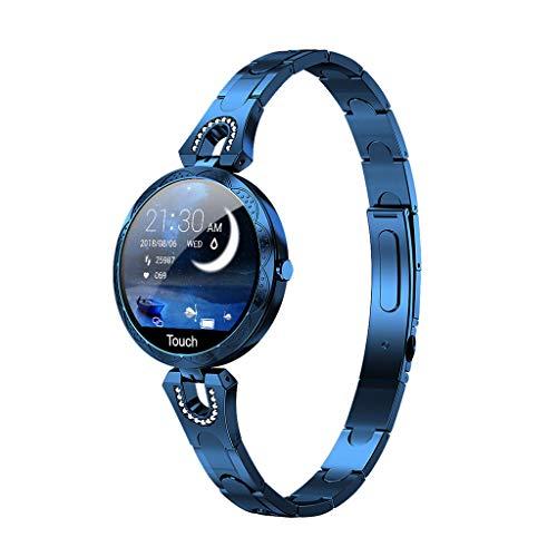 ELYSYSRL Braccialetto Intelligente Fitness Activity Tracker IP67 Impermeabile Pedometro Cardiofrequenzimetri Ms. Rotondo Vetro Temperato Comporre Braccialetto Intelligente-Blu