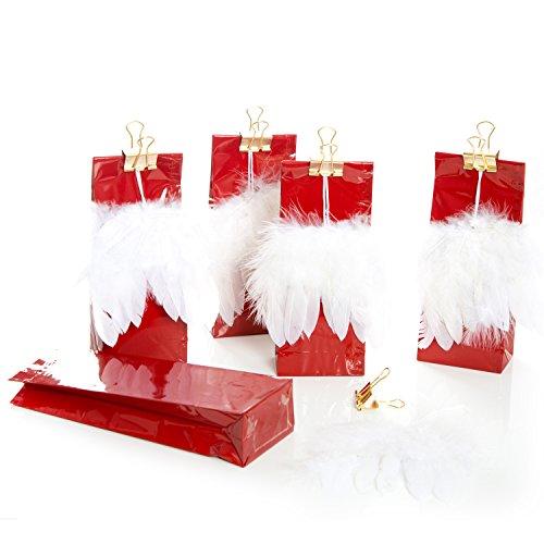 5 rote glänzende Geschenktüten mit Engels-flügeln gold lebensmittelecht + Metallklammer Tüte 7 x 4 x 20,5 cm Verpackung Geschenke zu Weihnachten Kommunion Taufe Geburtstag give-away -