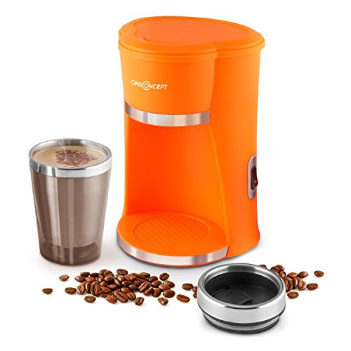 oneConcept Raffinato Arancio kleine Single-Kaffeemaschine Mini Kaffeemaschine mit Thermobecher Coffee to go Kaffeebecher (420 Watt, 300ml,Schnell-Brüh-System: Kaffee in 4,5 Minuten) orange