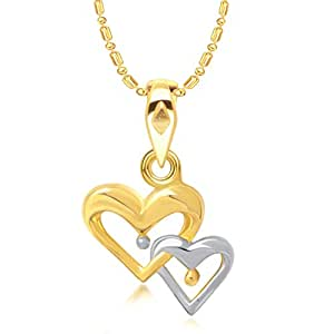 VK Jewels Togetherness Forever Heart Shape Gold and Rhodium Plated Alloy CZ American Diamond Pendant with Chain for Women - P1339G [VKP1339G]