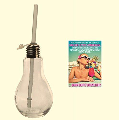 Trinkglas Glühbirne 2 Stück & Postkarte