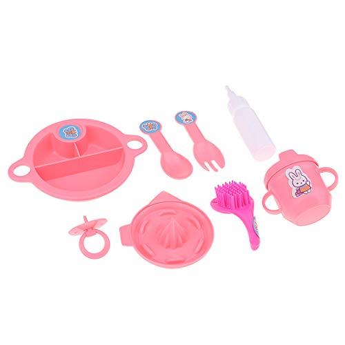 T TOOYFUL 8 Stücke Puppe Fütterung Liefert Geschirr Modell Set Puppe Zubehör Tischdekoration -