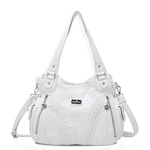 angel kiss Hobo Tasche Schultertaschen Handtaschen Umhängetaschen Henkeltaschen Fredsbruder Taschen Damen Weiches Leder (1555-Weiß) - Leder Schultertasche Handtasche Tasche