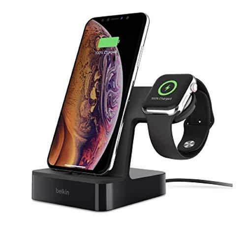Belkin PowerHouse Ladestation (geeignet für die Apple Watch und das iPhone, kompatibel mit Apple Watch Series 4, 3, 2, 1, iPhone XSMax, XS, XR, X, 8Plus, 8, 7Plus, 7 und andere Geräte) schwarz