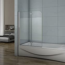 Pare-baignoire 100x140cm verre anticalcaire et sablé au central 2 volets pivotant à 180°