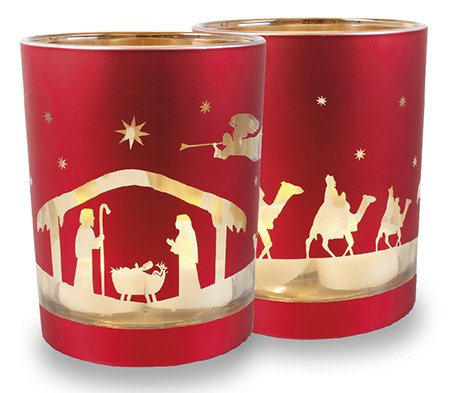 Weihnachtsdekoration Krippe Ornament Glas Teelichthalter Weihnachten Votivkerze