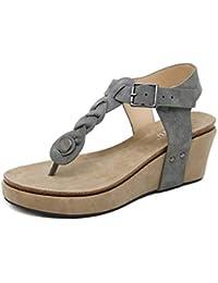Minetom Sandalias Mujer Cuña Alpargatas Plataforma Romanas Flip Flop Mares Playa Gladiador Verano Zapatos Elegante Espadrilles