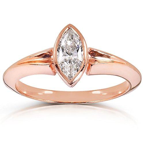 Anello solitario con diamante taglio Marquise, 2/5 CT (ctw) 10 k in oro rosa, con certificato), Oro rosa, 13,5, cod. 14432X_7.0 - Vs2 Marquise Diamante Solitario