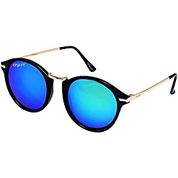 Elegante UV Protected Blue Mirrored Round Sunglasses for Men and Women