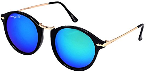Elegante Combo of UV Protected Blue Mirrored Round & Rectangular Sunglasses for Men and Women