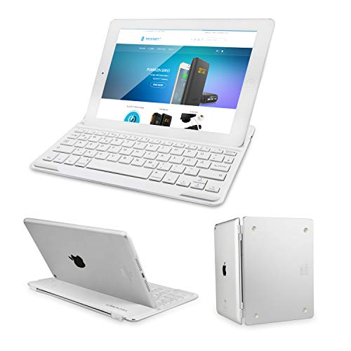 TECKNET Bluetooth Tastatur, Ultra Dünn Bluetooth 3.0 Keyboard Deutsche Layout QWERTZ für iPad Air 2, Magnetic Clip-On Hülle Folio Keyboard Smart Case Cover mit Auto Sleep/Wake (Ipad Air Tastatur-pad 2)