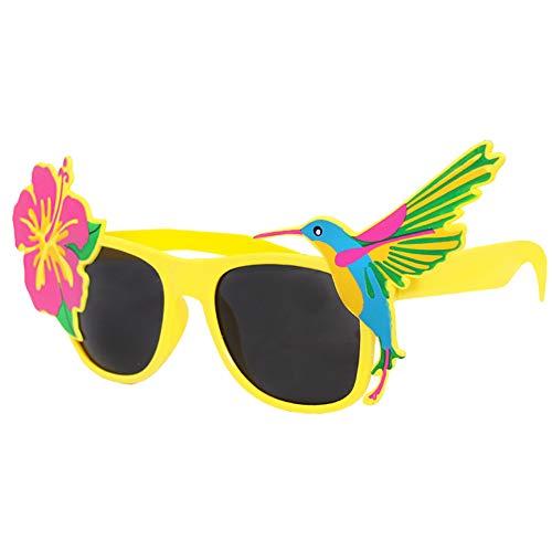 12 GELBE Tropical Flamingo Brille mit dunklen Gläsern Katy Perry Stil ideal für Sommer Partys, Hawaiian, Luau, Beach