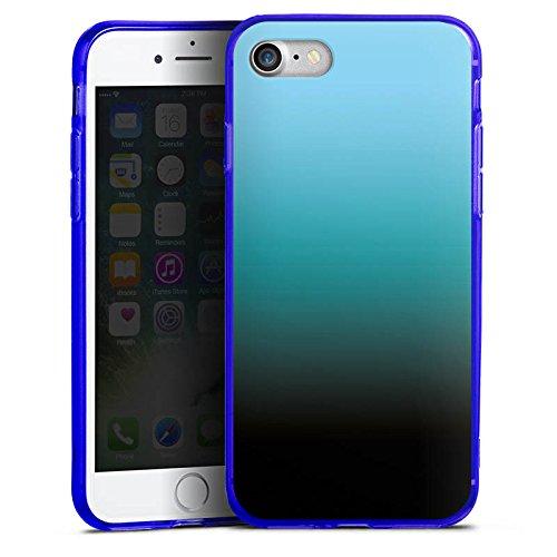 Apple iPhone 8 Silikon Hülle Case Schutzhülle Blau Schwarz Farbverlauf Silikon Colour Case blau