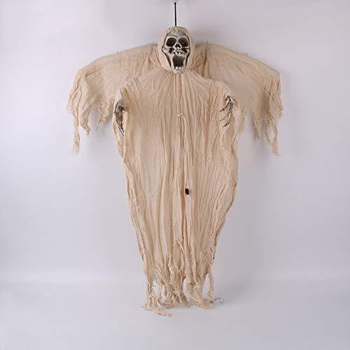 JNTM Halloween Hängende Skelett Dekoration Haunted House Ghost Zombie Leuchten Augen Scary Voice Sound Control Halloween Dekoration Requisiten Indoor Outdoor