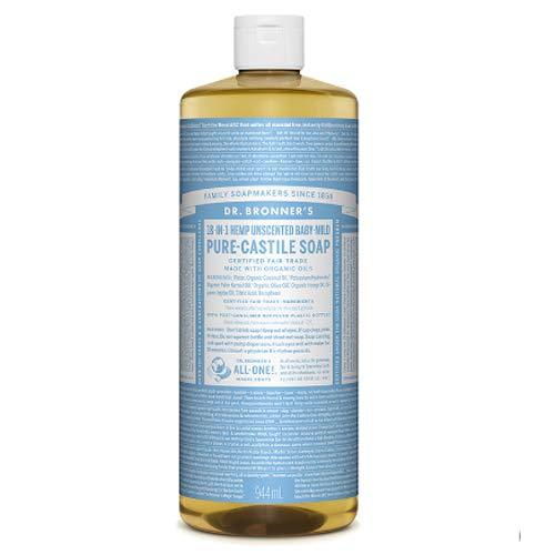 Savons magiques de Dr. Bronner - Dr. Bronner - Savon de Castille organique non parfumé Baby-Léger, 32 fl oz Liquid