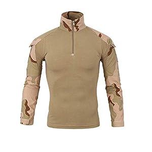 Rera Homme Pull Col Montant Uniforme Militaire Camouflage Chemises à l'Epreuve du Combat à Manches Longues à Attaque Rapide Costume Vêtements de Travail Combinaison Cycliste