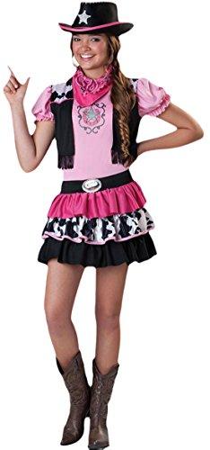 Faschingsfete Mädchen Cowgirl Kostüm, Karneval, Fasching, Halloween, Rosa, Größe 152-164, 12-14 - Mädchen Größe Cowgirl-stiefel 13