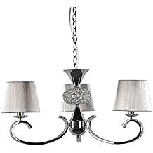 Lampara colgante habitación o salón | Cromo, cristal y pantalla hilo Plata | 3 luces | Ideal para habitación o salón | Admite LED | Elegante, moderna, clásica, diseño | Excelente calidad