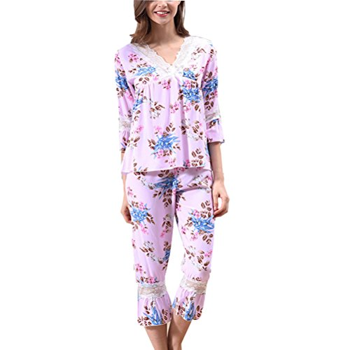 Zhhlinyuan Womens Comfortable Sleepwear Fashion Printing V-collar Elegant Pyjama Set Pink