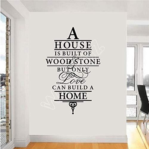 sifengdp Eine Familie Wird auf Holzstein gebaut, Aber nur die Liebe kann EIN Haus Bauen. Wandtattoo Vinyl Aufkleber 58x36cm
