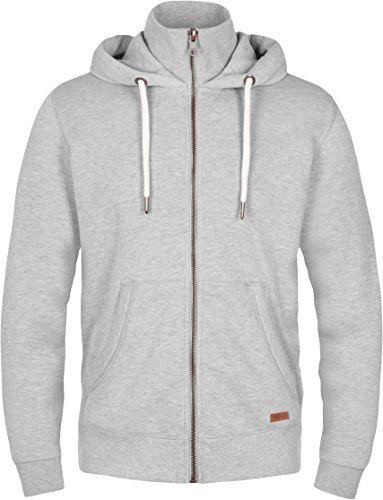 SOLID Toto Herren Jacke Sweatjacke Sweater Kapuzenjacke Zip Hoodie Zipper Männer Kapuze Baumwolle Einfarbig Reißverschluss, Farbe: (Grau) light grey melange (8242) Größe: L