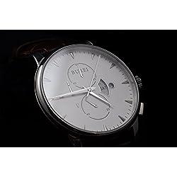 BUREI Herren Armbanduhr Chronograph Edelstahlgehäuse Lederband braun