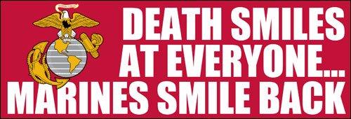 Death Smiles bei alle Marines Smile Rückseite Bumper Aufkleber (USMC Aufkleber) (Usmc-logo-aufkleber)