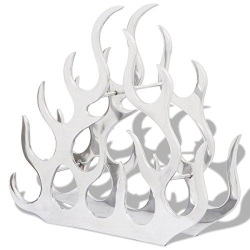 vidaXL Aluminium Weinregal Flammen Design Flaschenhalter Regal für 11 Flaschen