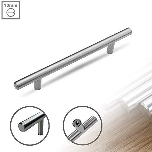 FROADP 20 PCS Maniglie per mobili in acciaio inox Maniglie per cassetto in argento spazzolato per armadi a cassetti Armadio Maniglie per porta Canne (Canne Ø 10 mm, 160 mm)