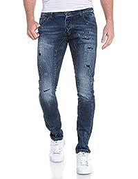 BLZ jeans - Jeans bleu slim coutures contrastées