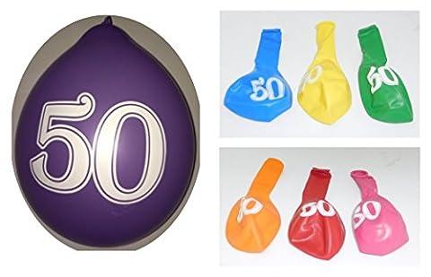 Lot 20 Ballons 50 ans Multicolore 31cm Decoration Anniversaire 765